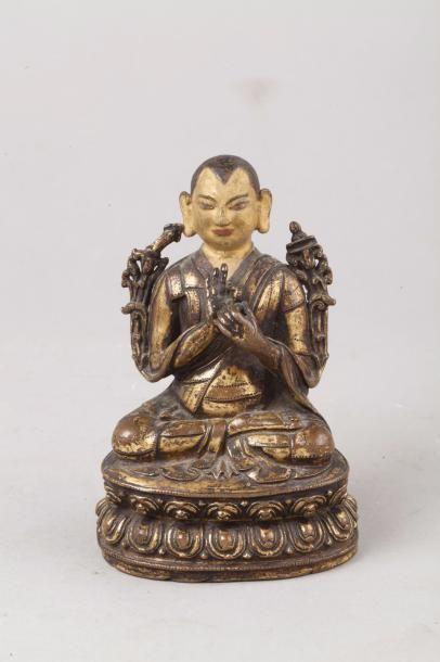 Tibet, XVIIIe siècle Sujet en bronze doré,...