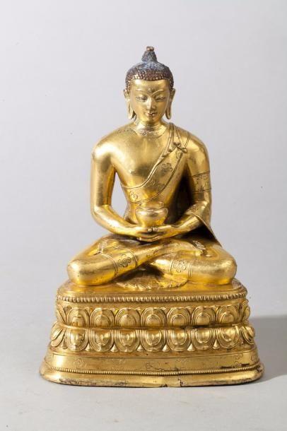 Chine, XVIIIe siècle Sujet en bronze doré,...