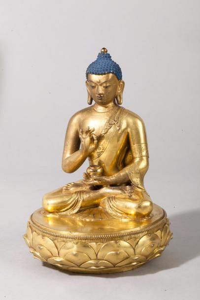 Mongolie, XVIIIe siècle Sujet en bronze doré...