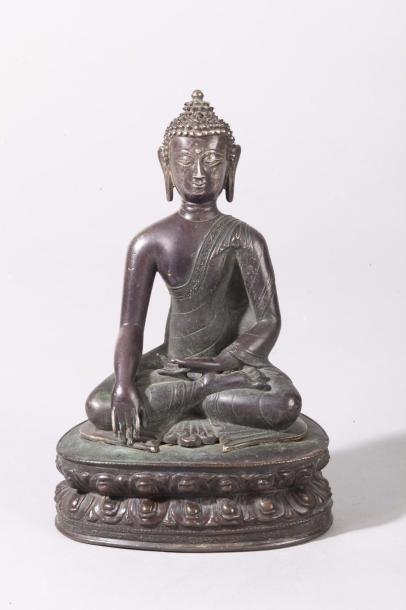 Tibet, XVII-XVIIIe siècle Sujet en bronze...