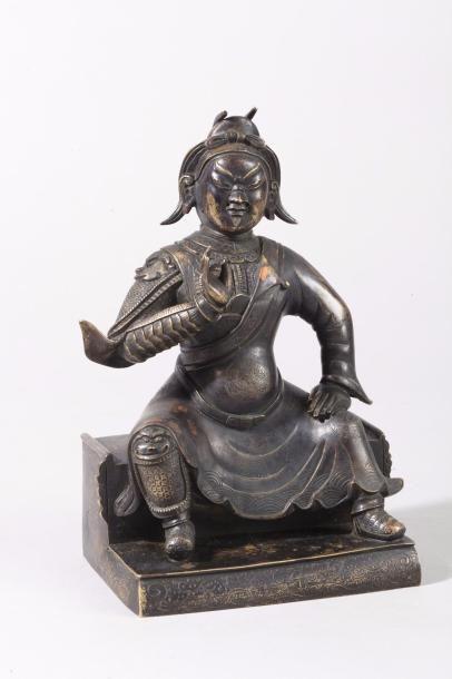 Chine, XVIIIe siècle Sujet en bronze de patine...