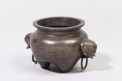Chine, XVIIIe siècle Brûle-parfum tripode...