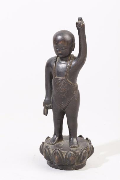 Chine, XIXe siècle Sujet en bronze de patine...