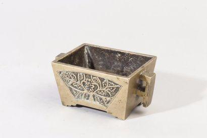 Chine, XIXe siècle Brûle-parfum rectangulaire...
