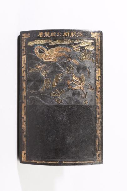 Chine, XIXe siècle Pierre à encre en forme...
