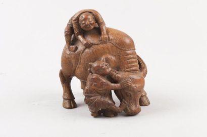 Chine, fin XIXe siècle Groupe en bambou sculpté,...