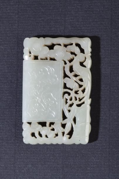 Chine, XIXe siècle Pendentif quadrangulaire...