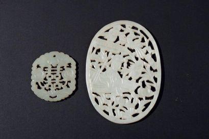 Chine, XIXe siècle Deux médaillons ajourés...