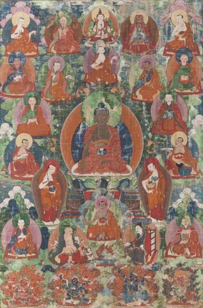 Tibet, XVIIIe siècle Thangka en encre et...