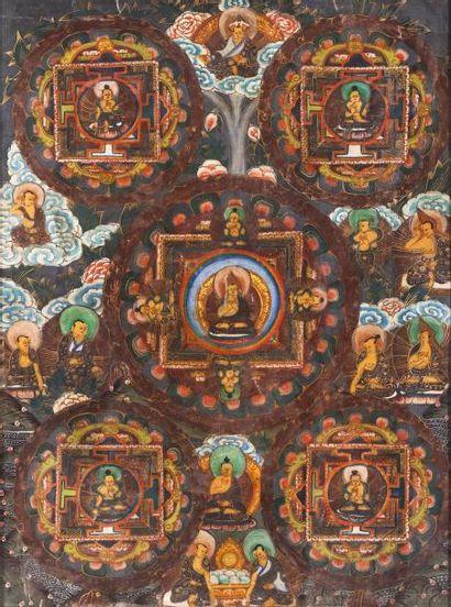 Népal, XIXe siècle Thangka en couleurs sur...