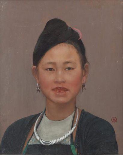 Indochine, XXe siècle Deux huiles sur panneau...