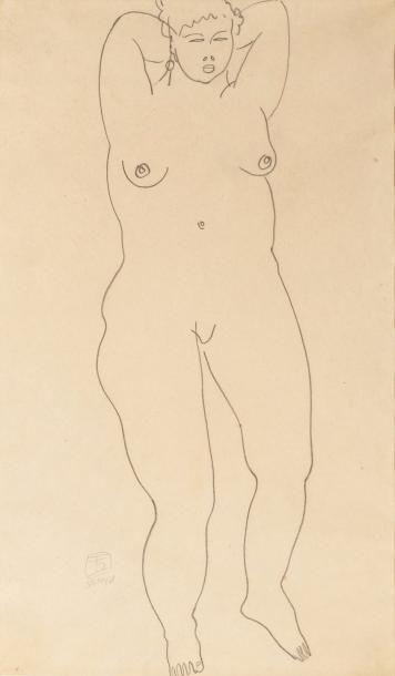 Sanyu (1901-1966) Nu féminin. Dessin à la...