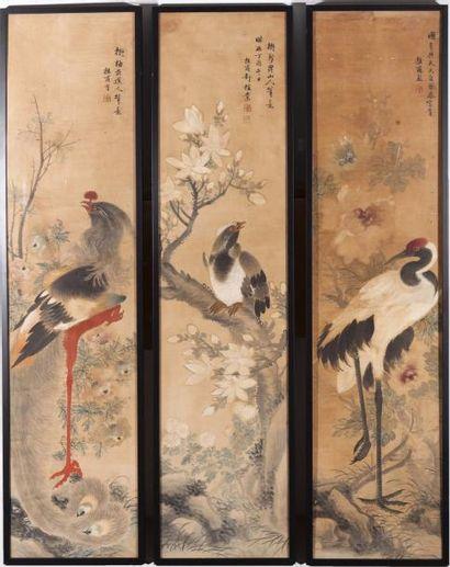 Chine, fin XIXe siècle Trois peintures à...