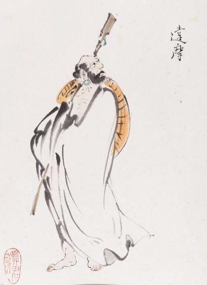 Chine, XXe siècle Peinture à l'encre et couleurs...