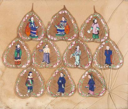 Chine, XXe siècle Ensemble de 10 peintures...