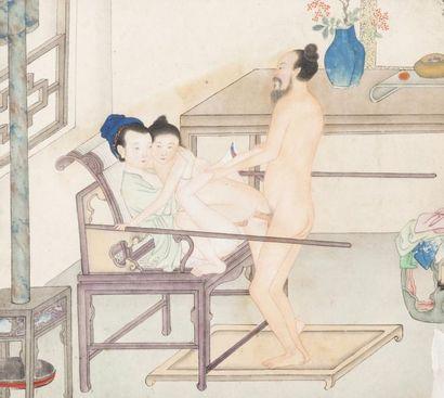 Chine, XIXe siècle Lot de sept peintures...