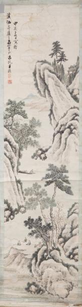 Chine, XIXe siècle Deux peintures verticales...