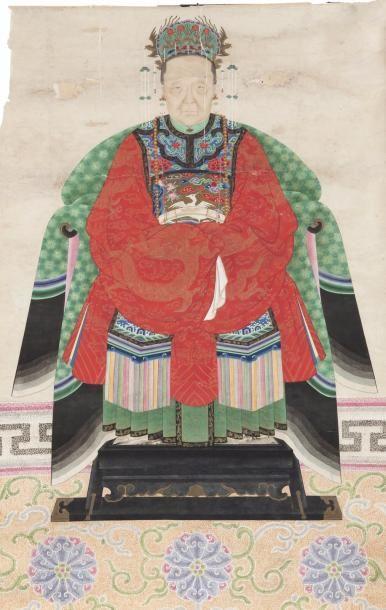 Chine, fin XIXe siècle Deux peintures en...
