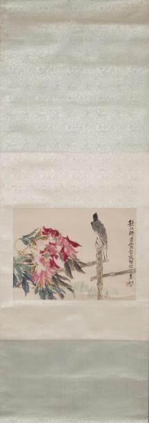 Chine Peinture en couleurs sur papier, représentant...