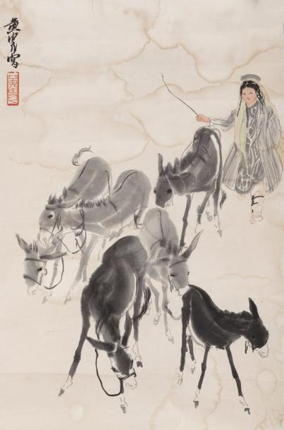 Chine, XXe siècle Peinture au lavis et couleurs...