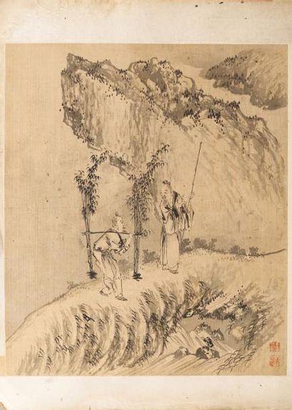 Chine. Album de 26 peintures comprenant d'une...