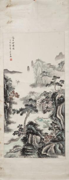 Chine. Peinture à l'encre et couleurs sur...