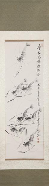 Chine. Peinture à l'encre sur papier, représentant...