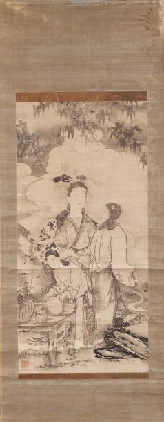 Chine. Peinture verticale à l'encre et légers...