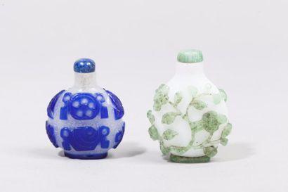 Chine, XIXe siècle Deux flacons de tabatières...