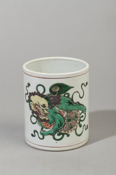 Chine, période Kangxi Porte-pinceaux bitong...