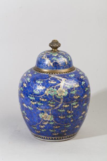 Chine, XIXème Pot à gingembre en porcelaine,...