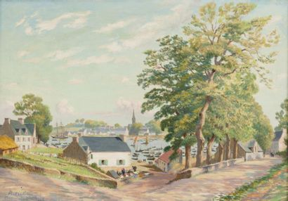 Le port de Bénodet Huile sur toile, signée,...