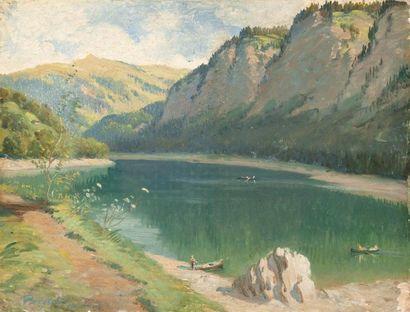 Lac en montagne Huile sur panneau, signée...