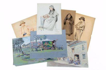 Lot d'environ soixante-seize dessins, pastels....