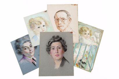 Carton comprenant divers portraits dont un...