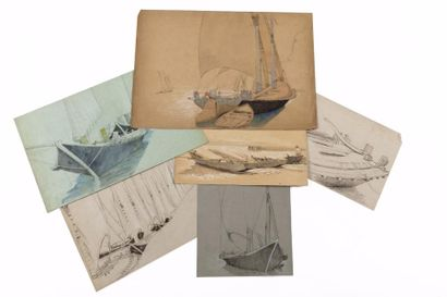 Carton contenant vingt-cinq dessins, pastels,...