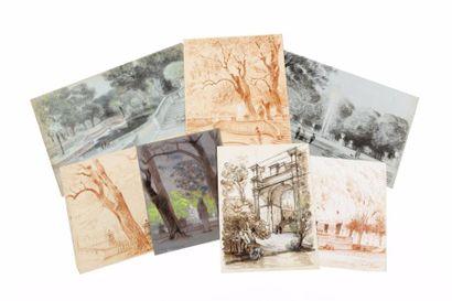 Jardin à Nîmes Lot de sept dessins, aquarelles...