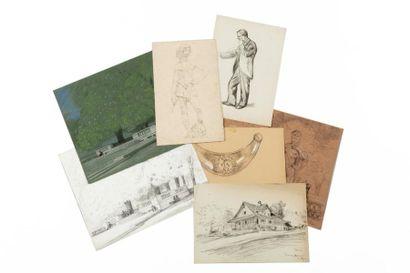 Environ quatre-vingt dessins de Nîmes, Yssingeaux,...