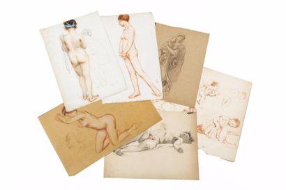 Carton à dessins contenant cinquante dessins,...