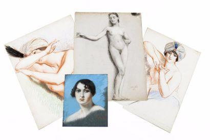Carton comprenant trois portraits de femmes;...
