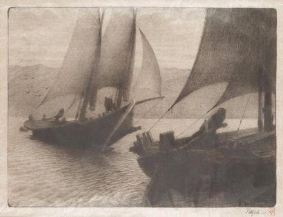 Barque sur le lac Léman Estampe sur papier...