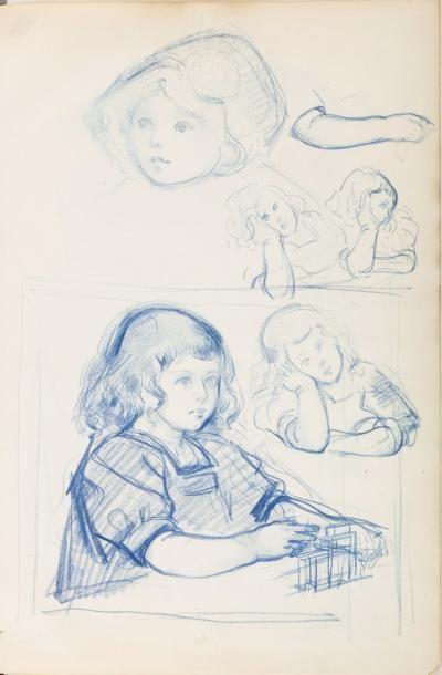 Album d'environ vingt-neuf dessins, aquarelles,...