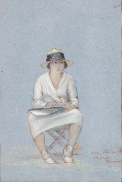 Marie-Thérèse desssinant sur un ployant Pastel...