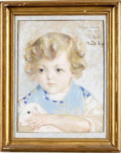 Portrait de Philippe, 1934 Pastel, signé...
