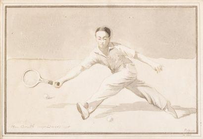 Portrait du tennisman Vivian Mac Grath, coupe...