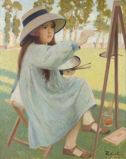 Marie-Thérèse s'essayant à la peinture Huile...