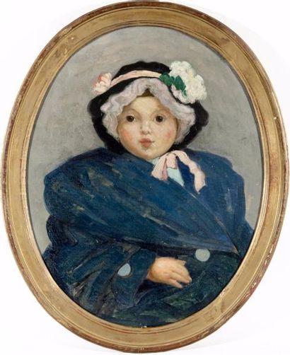 Portrait de Marie-Thérèse Huile ovale sur...