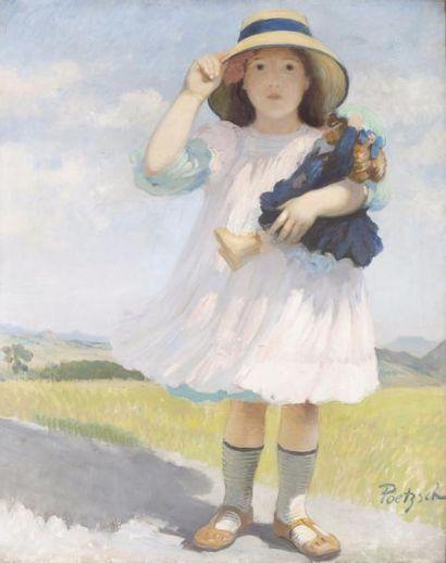 Marie-Thérèse avec sa poupée Huile sur toile,...