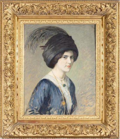 Portrait d'une élégante à l'aigrette Huile...