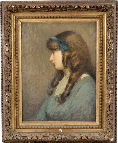 Jeune fille au bandeau bleu Huile sur toile,...